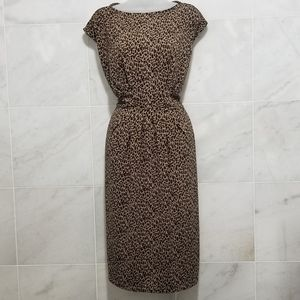 Talbots Leopard Sheath Dress Black  Tan Midi
